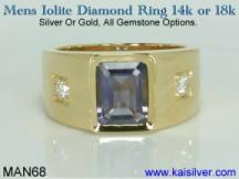 male gemstone rings, gold or silver iolite mens ring