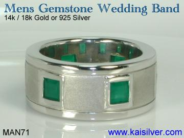mens emerald wedding band, custom