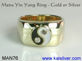 mens yin yang ring with black onyx and mother of pearl