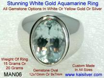 mens aquamarine gem stone ring 14k or 18k gold