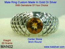 mens citrine ring, gold or silver citrine gem stone ring for men