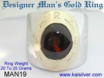 mens designer ring gold or sterling silver