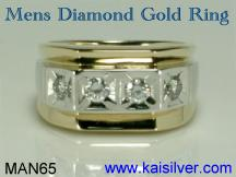 mens diamond ring, two tone gold diamond ring for men