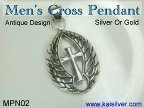 antique style men's cross pendant