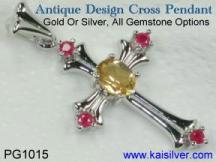 mothers cross pendant with gemstone