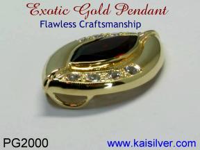 Gold Garnet Gemstone Pendant