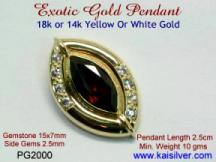 custom jewelry, red garnet diamond pendant