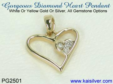 Diamond heart pendant, white gold or yellow gold