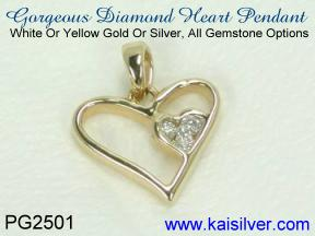 diamond pendant, affordable diamond heart pendant