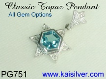 custom made mothers jewelry, blue topaz pendant