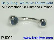 body piercing jewelry with gemstones, white gold belly ring wth sapphire