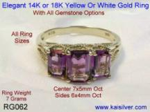 gold rings with amethyst gemstones