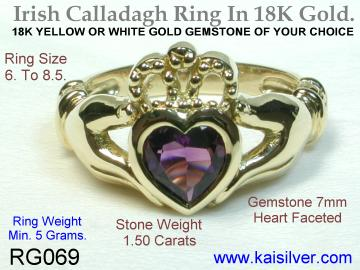 Irish Calladagh rings in white gold or yellow gold