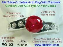 diamond promise ring with ruby gem stone
