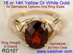Garnet rings white and yellow gold