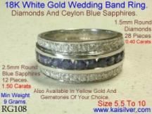 diamond wedding band with sapphire white or yellow gold