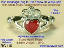 Claddagh ruby engagement ring, diamonds provided as an option