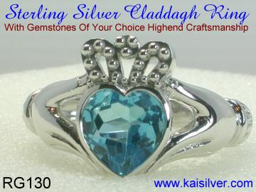 Silver Claddagh Ring With Blue Topaz