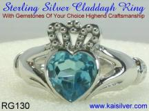 sterling silver or gold claddagh ring with swiss blue topaz