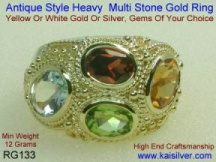 antique style mothers gemstone ring