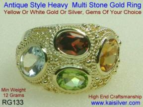 gem stone ring with many gems