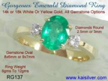 Diamond and emerald gem stone engagement ring