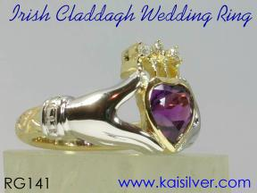 diamond claddagh wedding ring