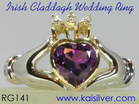 calladagh wedding ring with diamond