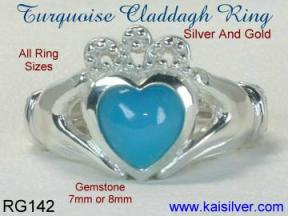 Turquoise gemstone silver Claddagh ring
