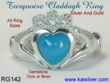 Turquoise gemstone silver claddagh engagement rings