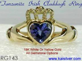 tanzanite gemstone claddagh ring