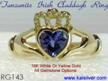 Claddagh tanzanite gemstone ring
