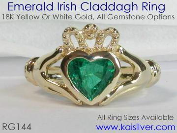 emerald claddagh ring from Kai silver