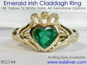 green gemstone claddagh ring, emerald
