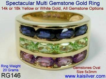 Yellow gold three gemstone ring