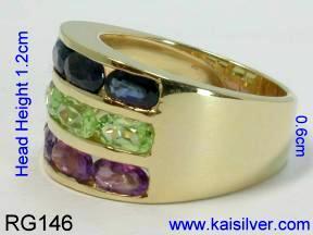 Three gemstone ring