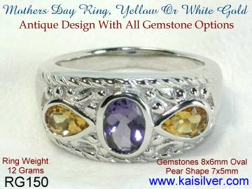 Mother ring, gold rings with three gemstones