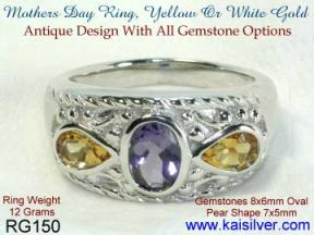three gemstone birth stone mother ring