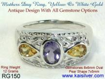 multi gem stone ring, gold or silver ring with gems