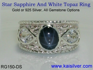 diffused star sapphire ring silver or gold