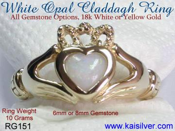 opal claddagh ring, 14k or 18k gold