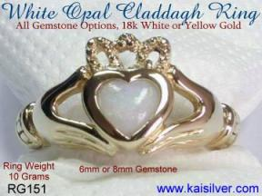opal calladagh ring in white gold or yellow gold