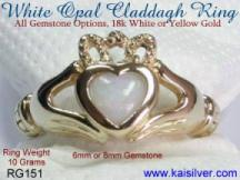 Gemstone Claddagh Irish ring, white opal