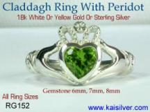 Peridot gemstone Claddagh rings