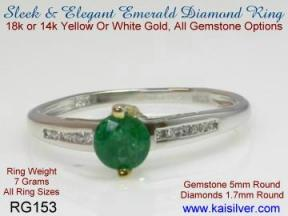Emerald gemstone and diamond rings