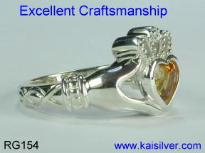 Claddagh silver ring citrine gemstone