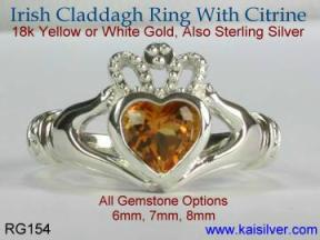 citrine Irish calladagh ring