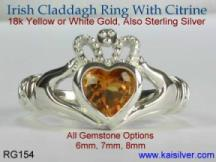 yellow or white gold engagement claddagh rings