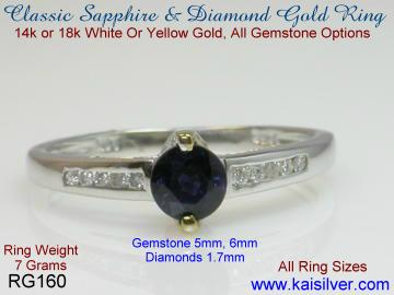 sapphire and diamond 14k or 18k gold rings