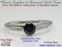 sapphire light ring, round sapphire gem stone ring